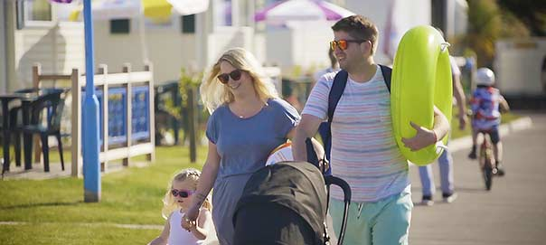 Family on Holiday in Devon, with pushchair and toddler