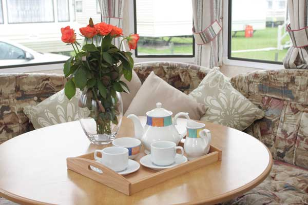 Moonlight Caravan living room at Welcome Family Holiday Park
