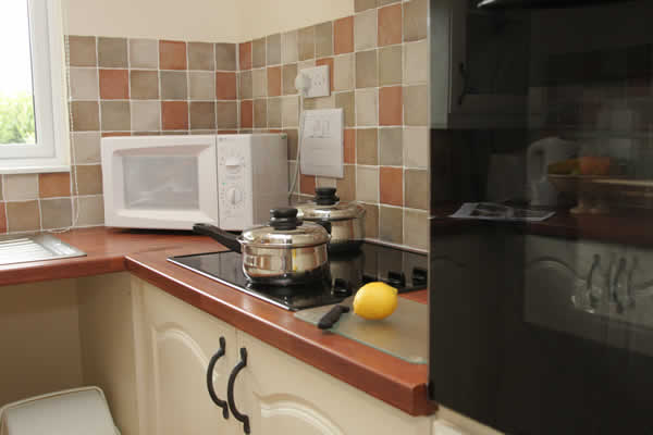 Kitchen in Casamigo Pet Friendly Lodge at Welcome Family Holiday Park.