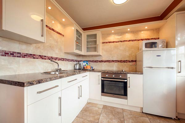Kitchen area in Bungalows and Chalets at Welcome Family Holiday Park, Dawlish Warren, Devon