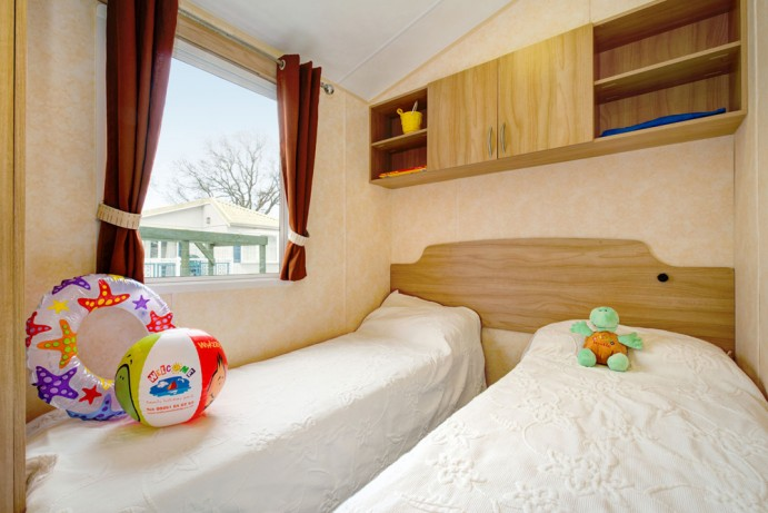 Twin Bedroom in Sunrise Modern 2 bedroom caravan at Welcome Family Holiday Park