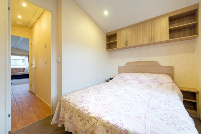 Master bedroom in Sunrise 2 bedroom caravan at Welcome Family Holiday Park