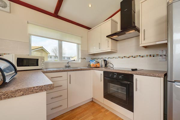 Kitchen in Casafina 3 Bedroom Lodge at Welcome Family Holiday Park