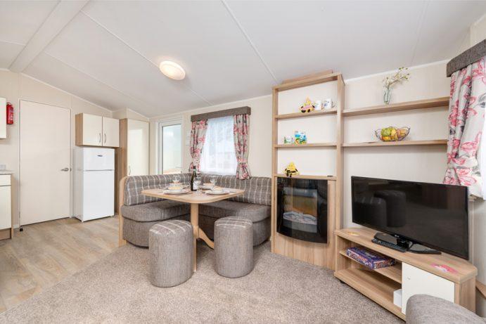 Living area of Casamor 3 bedroom caravan