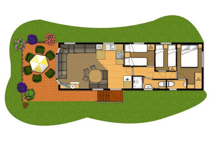 Floorplan of Casamor 3 Bedroom Premier Caravan