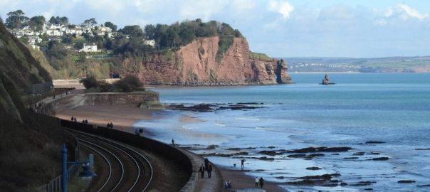 Coast Path beside the train track in South Devon