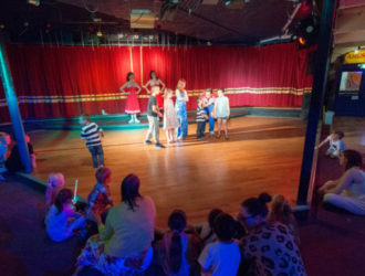 Kids on stage at the talent shows at Welcome Family Holiday Park in Devon