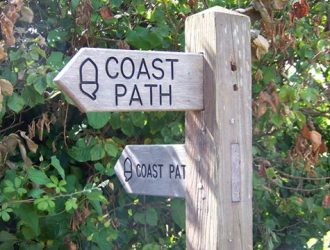 Sign for a Coast Path along the South West Coast Path