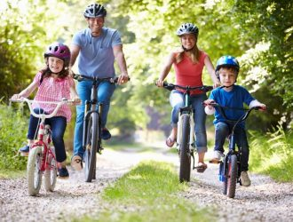 Family out Cycling in the countryside