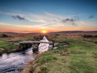 View of a bridge and stream on Dartmoor.