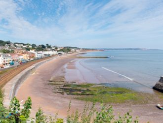 Dawlish Sea Front view, the tide is out.