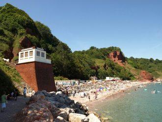 View of Oddicombe Beach and Babbacombe Cliff Railway.