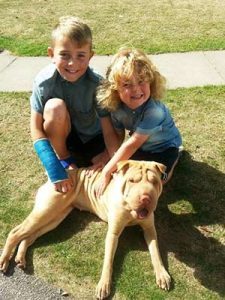 Children with their dog at Welcome Family Holiday Park