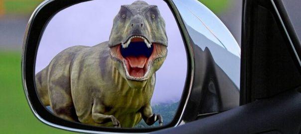 Dinosaur in a Car Mirror