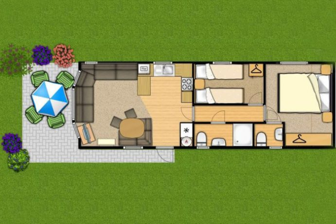 Floorplan of Casario 2 bedroom caravan at Welcome family Holiday park