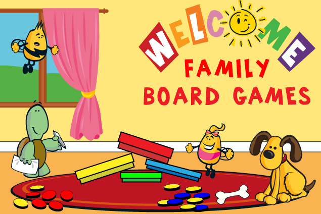 welcome family mascots getting ready for a board game
