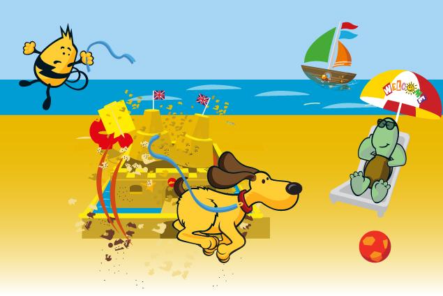 dougie running through sandcastle